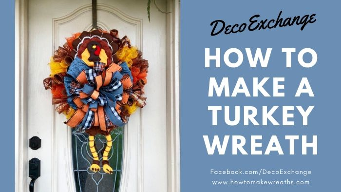 Y'all want to learn how to make a fun turkey wreath for your front door? It's time to break out the seasonal home decor and get festive! #howtomakewreaths #decoexchange #fallwreath #turkeywreath #thanksgivingwreath