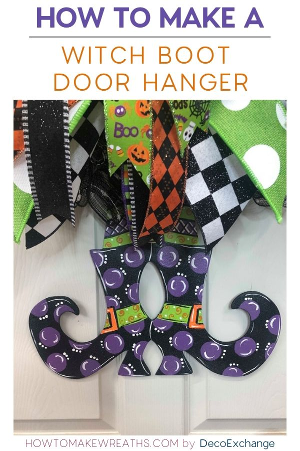 Make your own Halloween Door Hanger in less than 15 minutes! Y'all will love this Witch Boot door decoration! Check out the video tutorial. #howtomakewreaths #decoexchange #halloweendoorhanger #witchboots #halloweendoordecor #diyhalloween