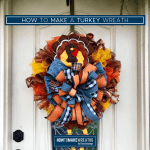 Y'all want to learn how to make a fun turkey wreath for your front door? It's time to break out the seasonal home decor and get festive! #howtomakeawreath #decoexchange #fallwreath #turkeywreath #thanksgivingwreath