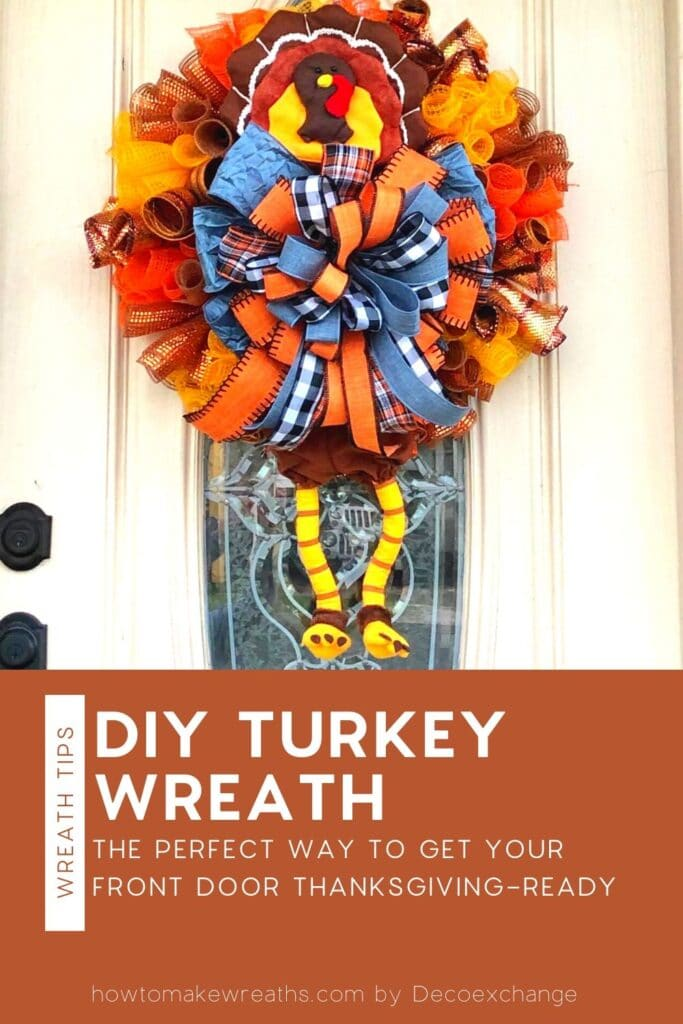 stuffed turkey wreath with deco mesh and bow