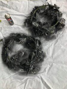 black hydrangea wreaths