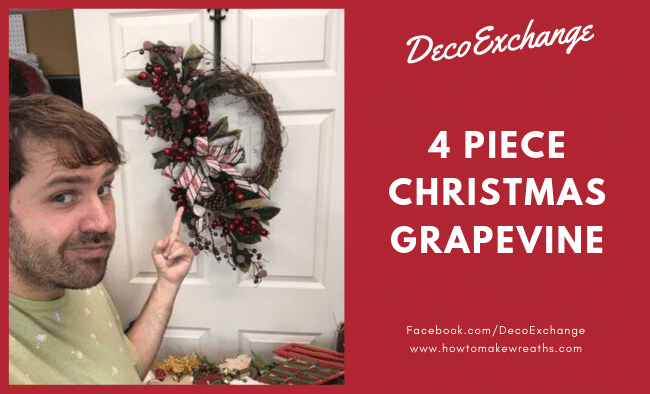 4 Piece Christmas Grapevine Wreath