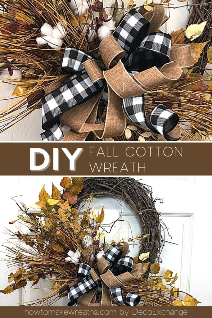 black and white ribbon, burlap ribbon in bow, fall leaves and cotton in grapevine wreath