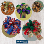 fall bow, mardi gras bow, spider bow, patriotic bow, green, red, and gold bow