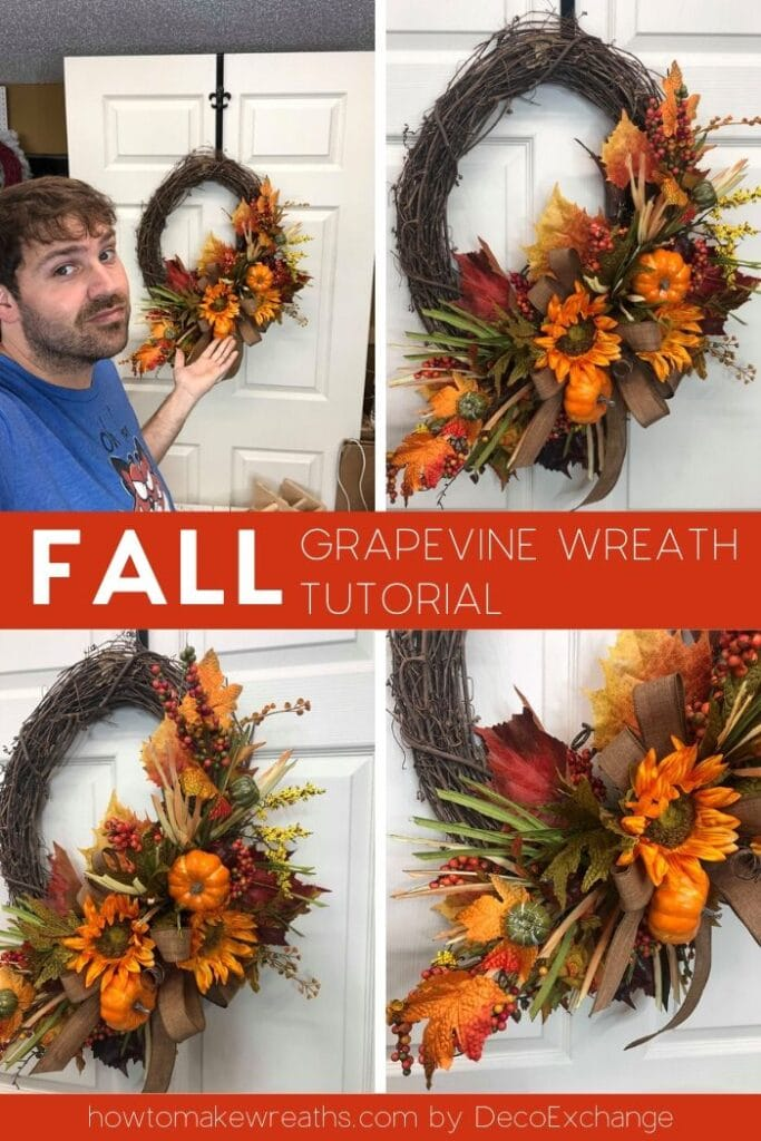 Collage of designer fall wreath with fall foliage and pumpkins