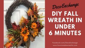 It's time to decorate your doors and porches with colorful fall foliage and pumpkins galore! We created a tutorial to mak a fall wreath in under 6 minutes! #howtomakewreaths #decoexchange #fallwreaths #homedecor #quickwreathtutorial