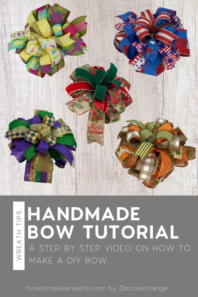 5 bows for easter, fall, patriotic, mardi gras, and Christmas