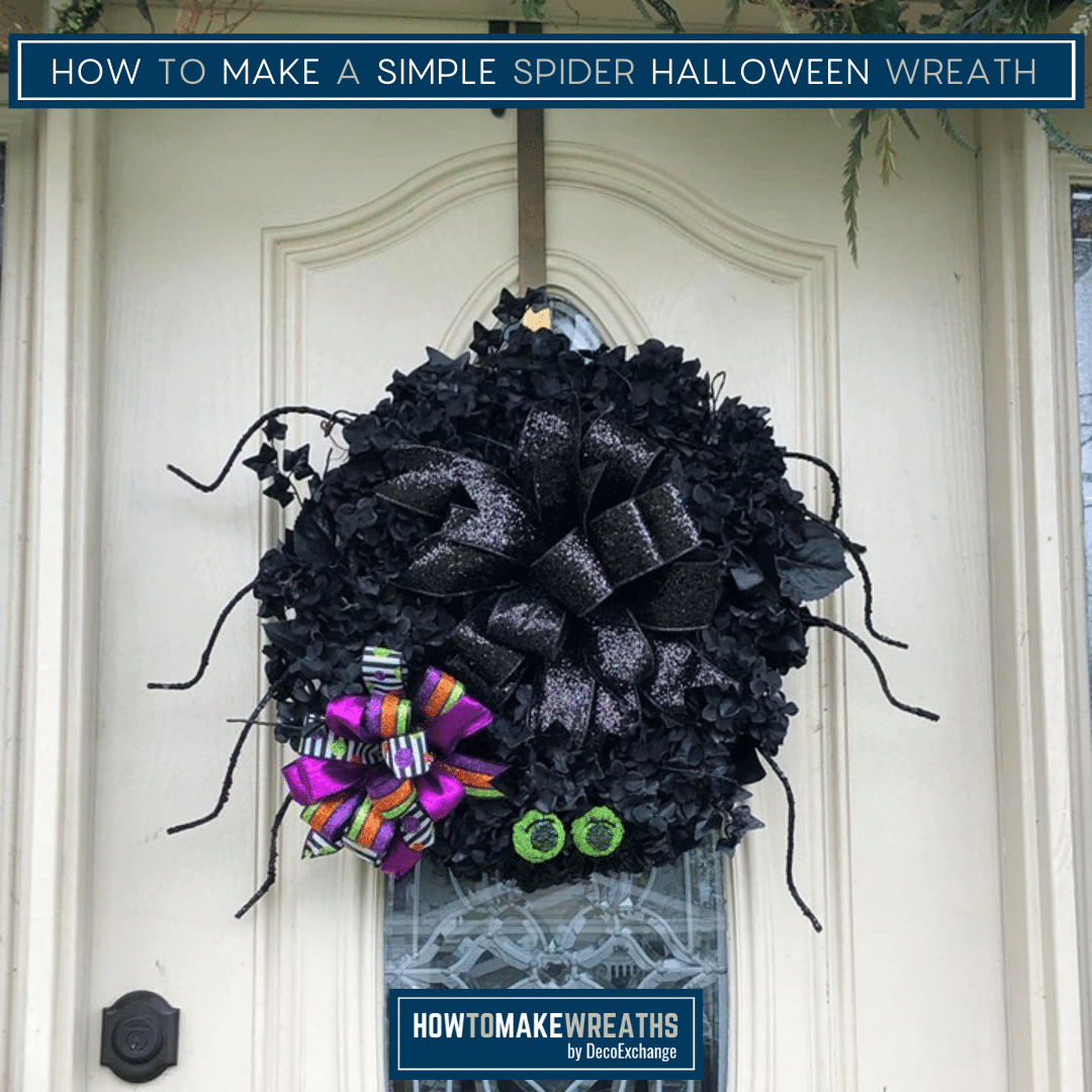 how to make a simple spider halloween wreath