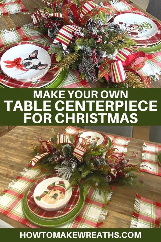 Christmas Themed Centerpieces with decorated Christmas plates