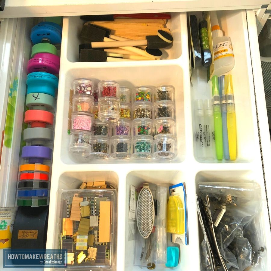 Organizing small objects in a craft room