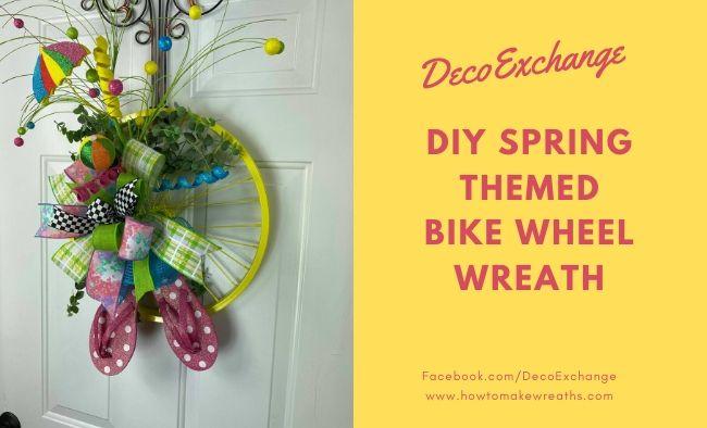 DIY Spring Themed Bike Wheel Wreath