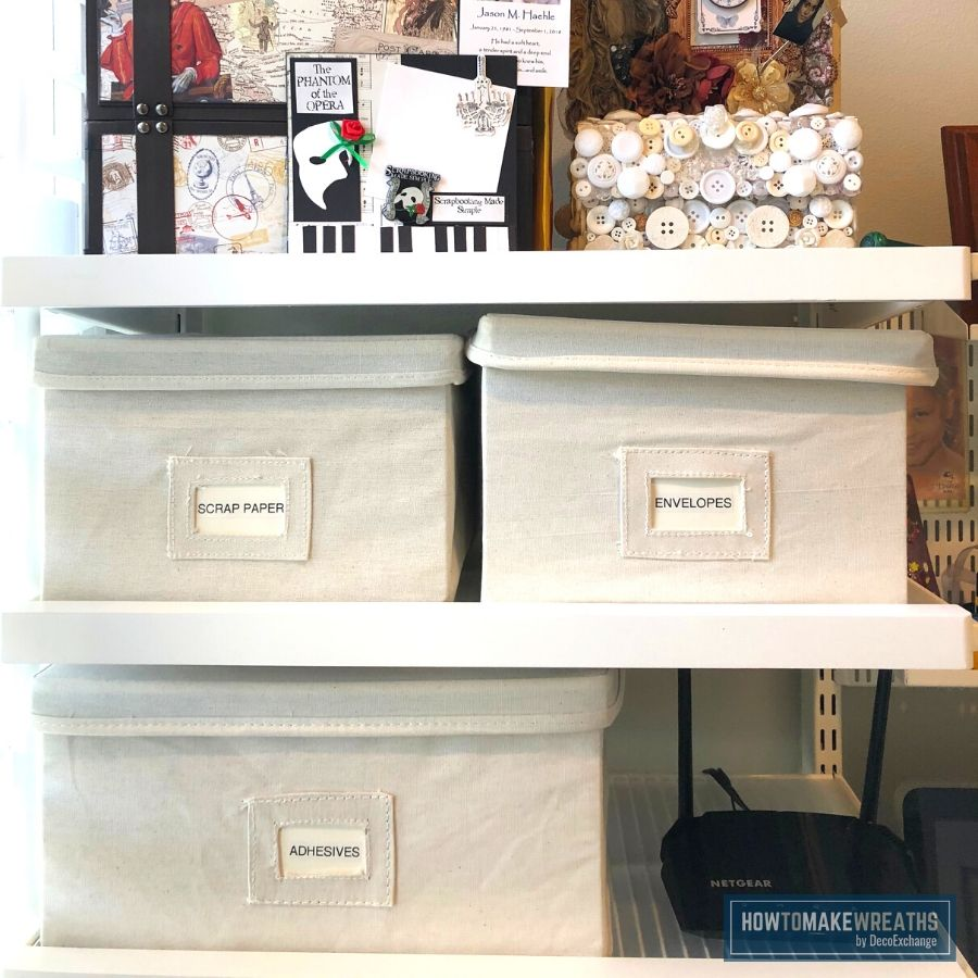 Use boxes to organize your craft room