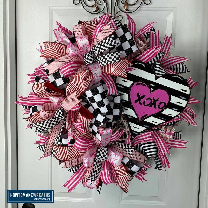 Deco Mesh Wreath for Valentine's Day
