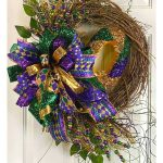 Mardi Gras Grapevine Wreath + Bow