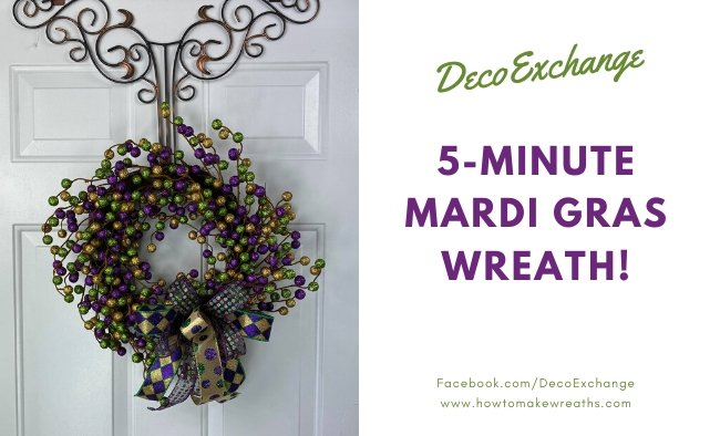 5-Minute DIY Mardi Gras Wreath