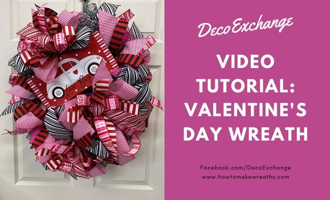 How to Make a Deco Mesh Valentine's Day Wreath with Poly Burlap + Wreath Sign
