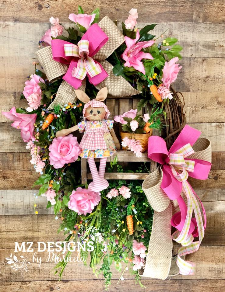 Bunny Floral Wreath MZ Designs by Maricela