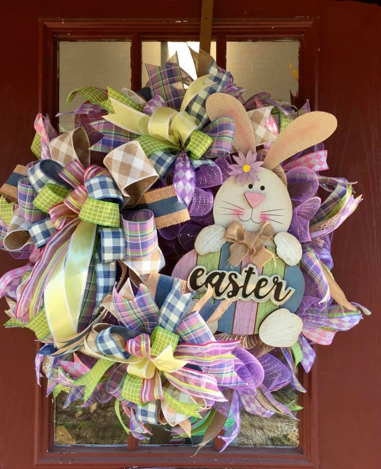 Made With Joy Easter Decomesh Wreath