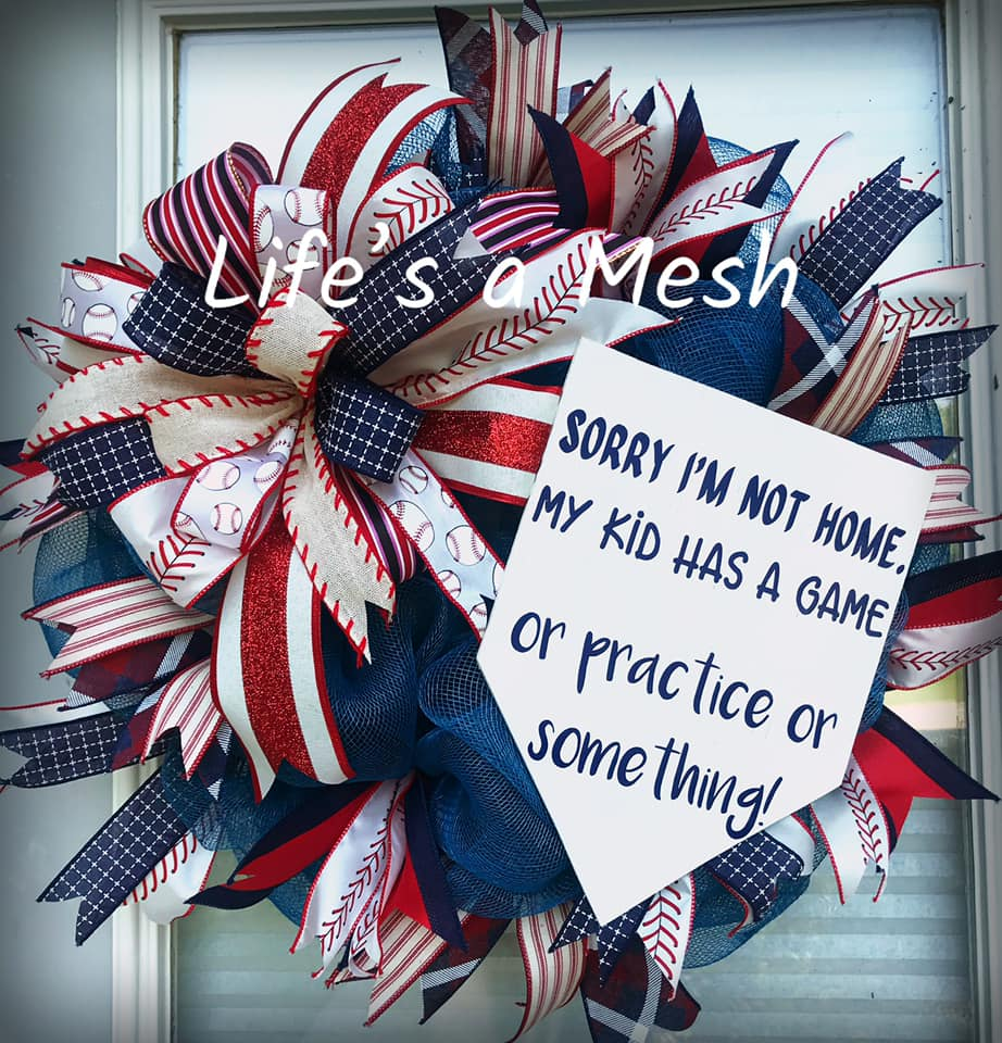 Life a Mesh Patriotic Baseball Wreath