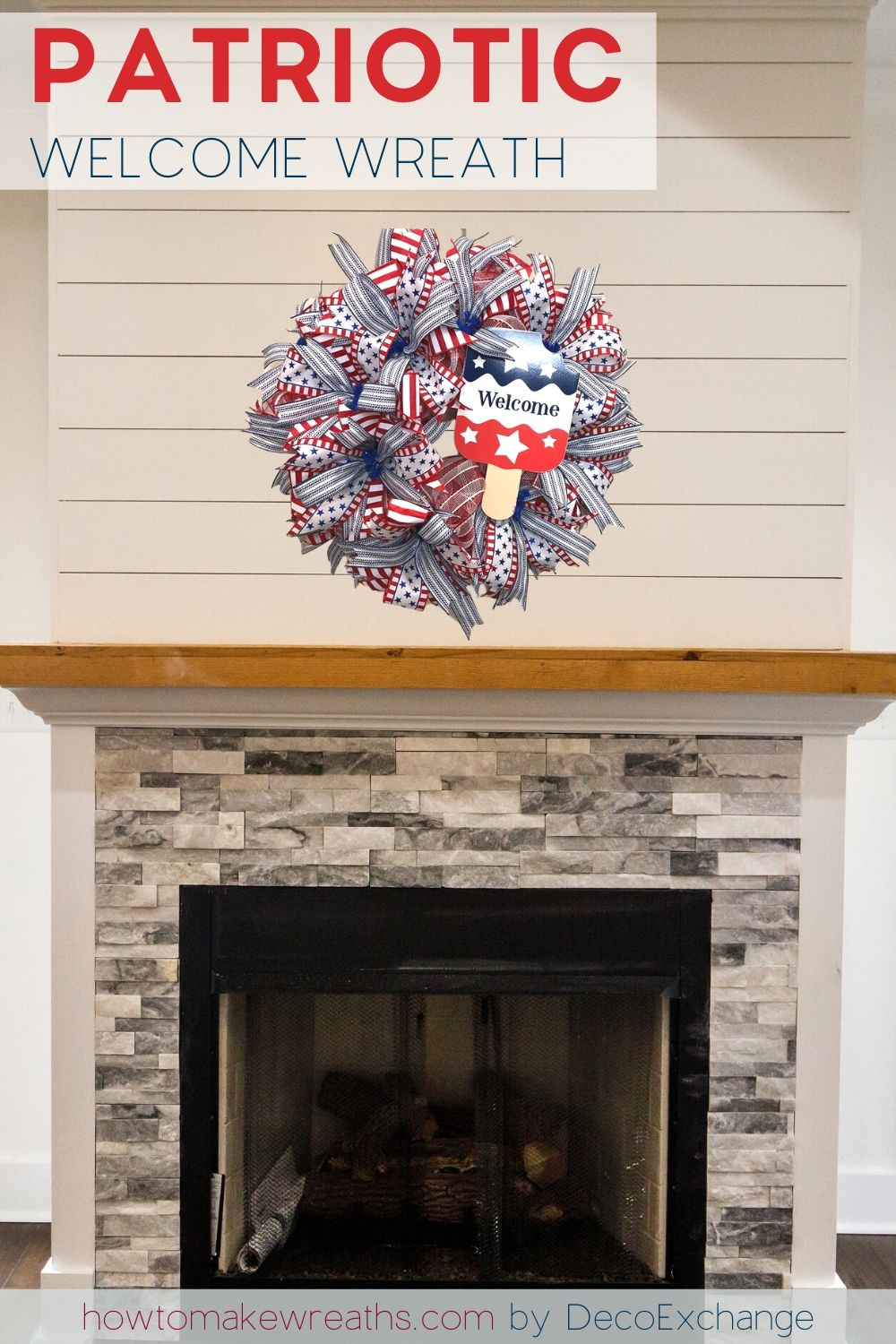 4th of july wreath over fireplace