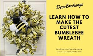 yellow and black ribbon wreath with stuffed bee