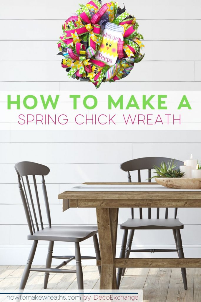 spring wreath in dining room