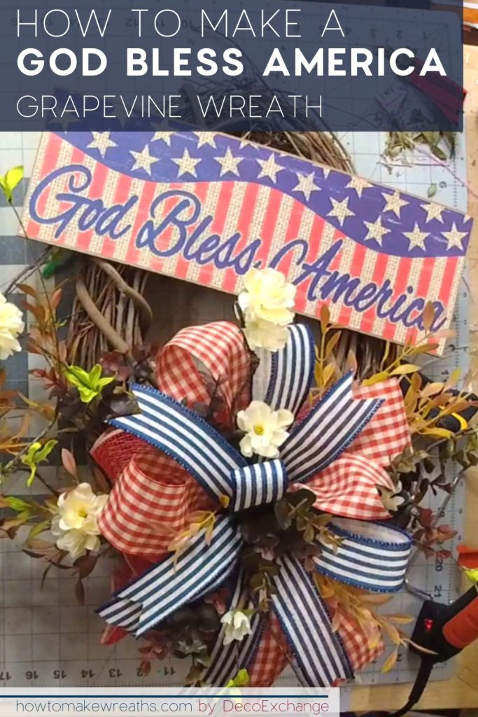 God bless america sign on grapevine wreath