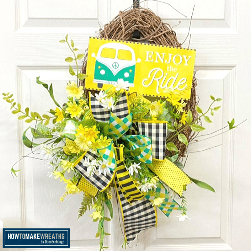 Summer Enjoy the Ride Grapevine Wreath