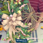 pink floral, burlap bow, butterfly wreath