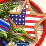 US flag in a star on bike wheel