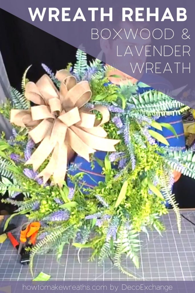 lavender boxwood wreath with natural bow