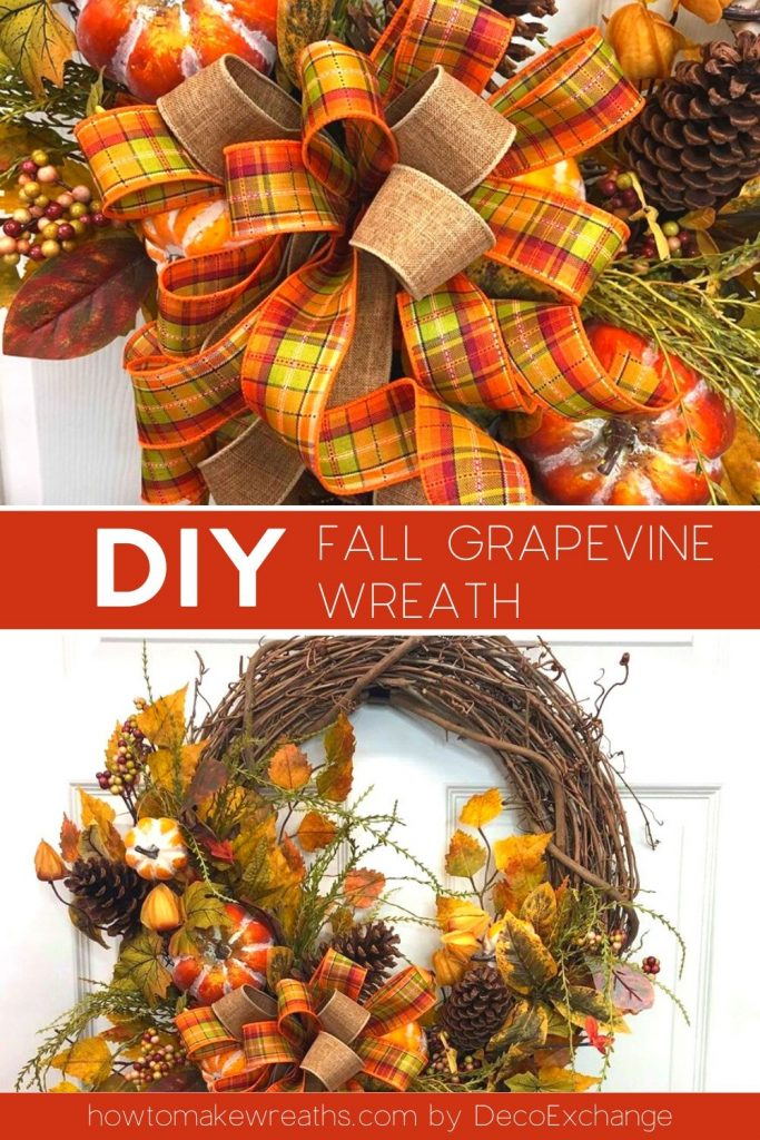 orange, yellow, and red bow, grapevine wreath