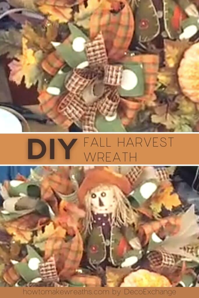 fall colored ribbon, scarecrow wreath