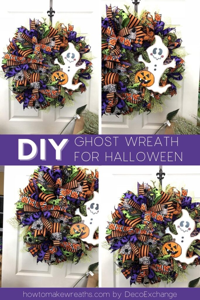 deco mesh wreath with ghost attachment