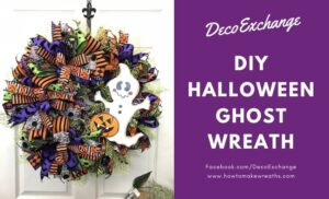 Wreath with ghost attachment with deco mesh
