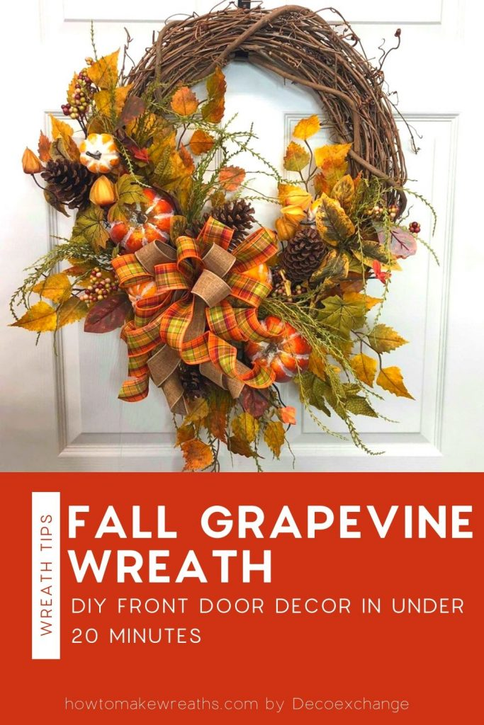fall leaves, pine cones, grapevine wreath