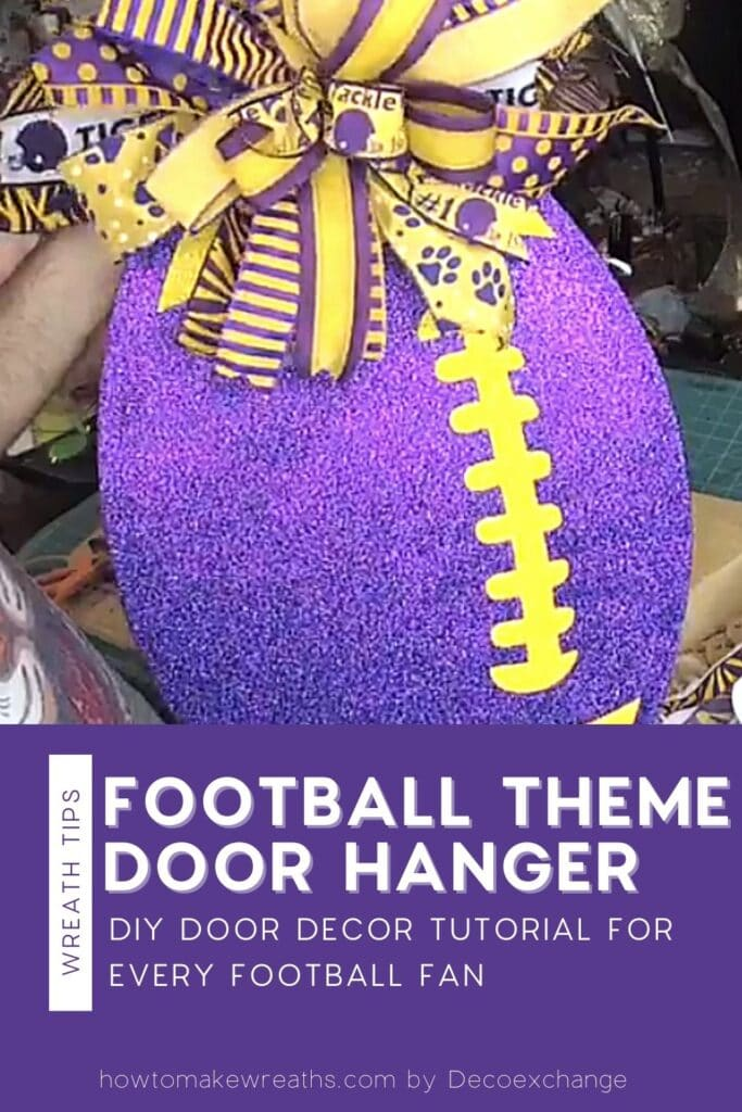 yellow and purple stripe bow on purple and yellow football sign