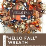 brown, orange, and blue deco mesh wreath with sign