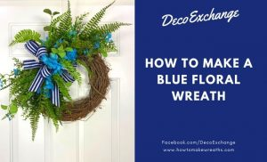 blue floral and greenery grapevine wreath