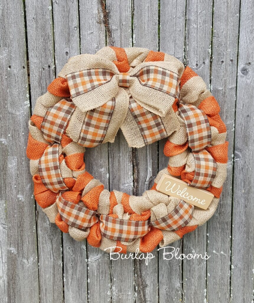 orange and burlap fall wreath