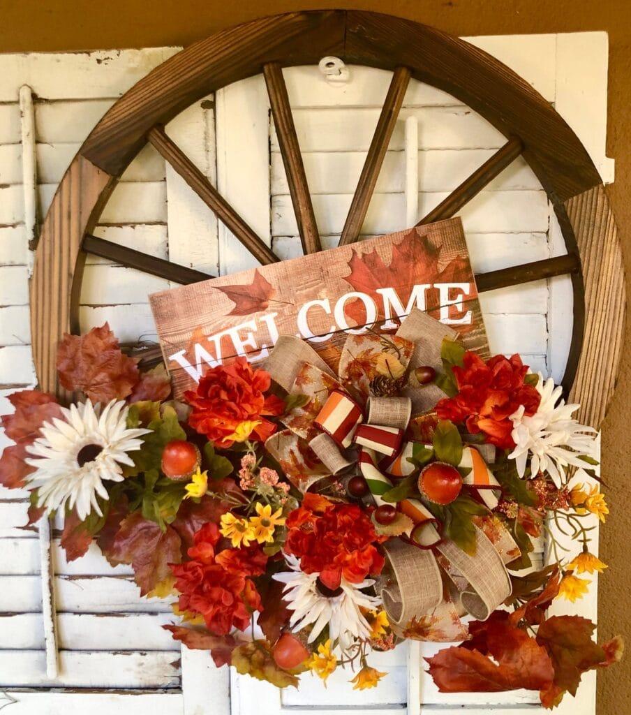 wagon wheel fall wreath