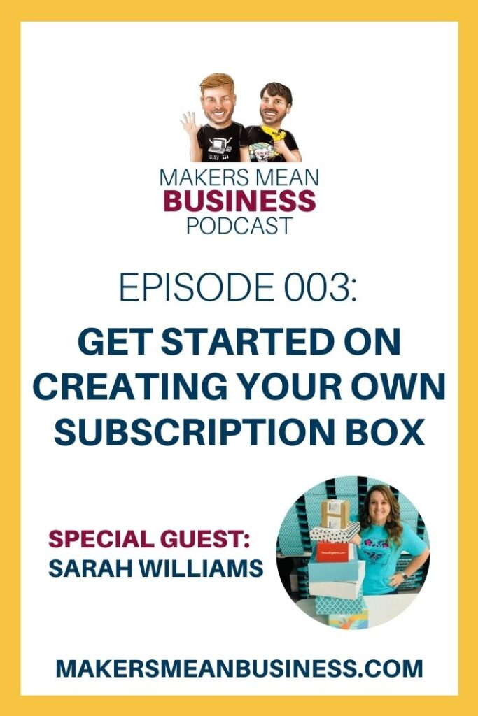 blue text get started on creating your own subscription box business