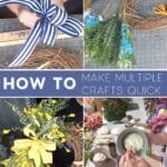 blue and white stripe bow, greenery stems, blue florals, yellow florals,