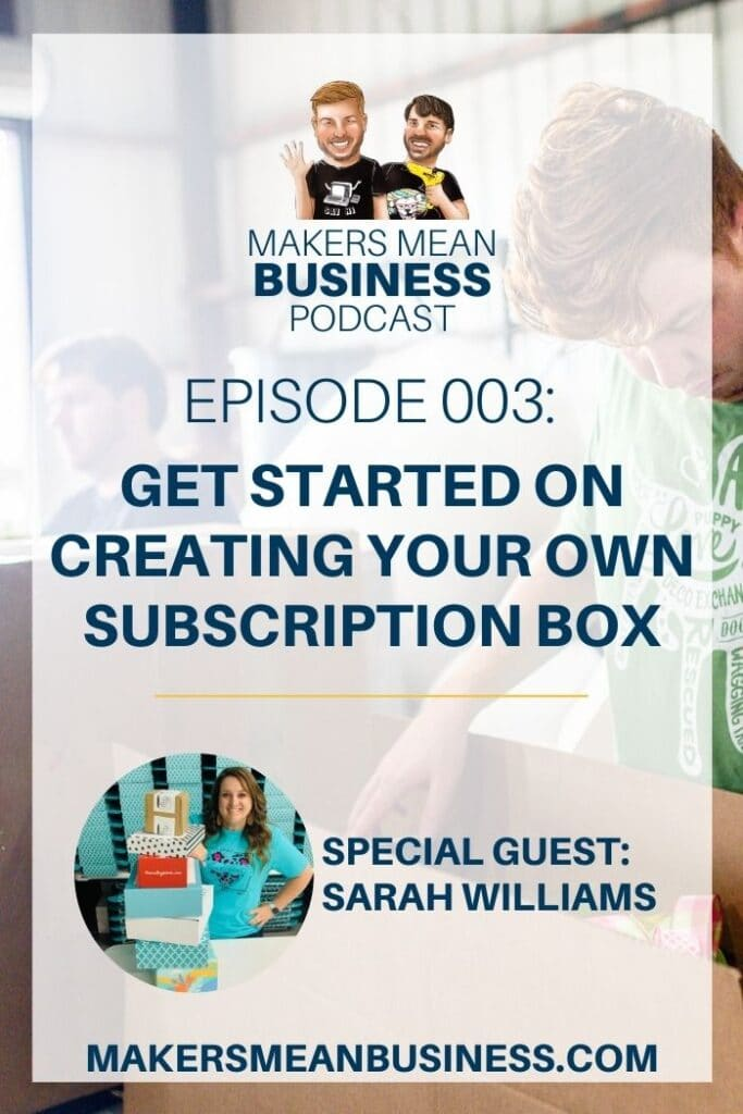 2 men packing subscription boxes in the background and a picture of a woman with boxes in the foreground