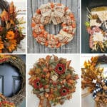 collage of fall themed grapevine and deco mesh wreaths