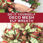 Cute Elf sign with Christmas bows and mesh on a wreath