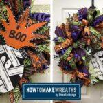 Boo mummy sign, deco mesh wreath