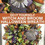 witch hat on green, purple, and orange deco mesh wreath