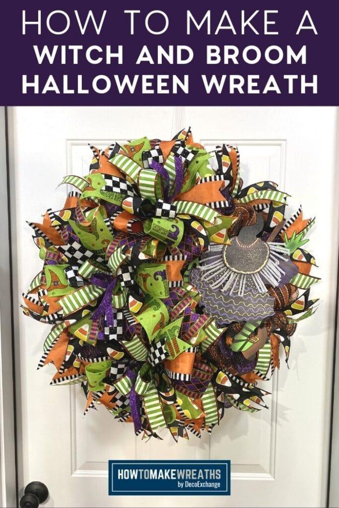 Halloween deco mesh wreath on white door