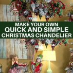 Christmas ornaments and ribbon with hanging elf decorating the chandelier